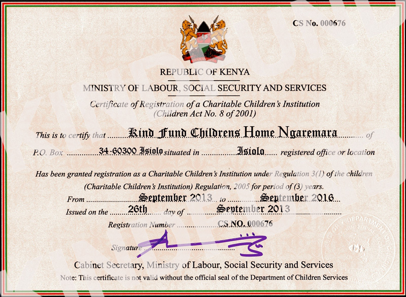 kindfund cci registration certificate