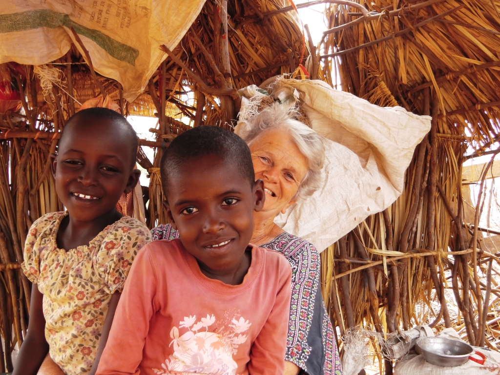 Pamela with two of our first Rendille children at Ndikir now turning into beautiful young girls Nov 2014