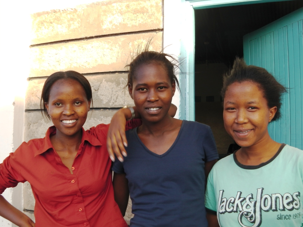 three happy senior girls at Ngaremara