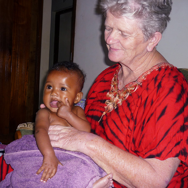 pamela dobbin with a baby from the wamba home
